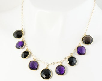 Gold Purple Amethyst quartz & Black Onyx Bib Necklace - Black Bib Necklace - Gold Filled