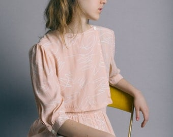 Vintage 80s Peach Printed Silk Dress   M/L