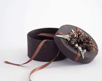 Ring Box - Ring Bearer Box - Wedding Ring Holder - Ring Pillow Alternative brown, woodland