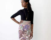 Pleated Pencil Skirt - Hand Printed - Organic Cotton - Summer Wedding -Slow Fashion - Dusty Rose Wandering Floral - Thief and Bandit®