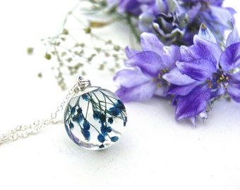 Blue Flower Sphere Necklace. Real Flower jewelry. Baby's Breath necklace. Botanical jewelry. Flower Resin jewelry.  By OCEAN PETALS