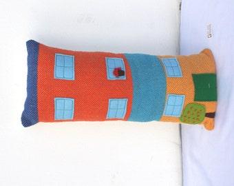 Handwoven BIG house, pillow, plush