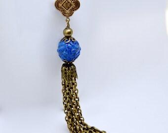 Long Blue Tassel Necklace, Cobalt Blue Bead Necklace, Antique Brass Chain Tassel Necklace, Vintage Bead, Bohemian Necklace, Boho Jewelry