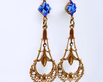 Sapphire Earrings, Blue Crystal Earrings, Art Deco Earrings, Rhinestone Earrings, Filigree, Victorian Earrings, September Birthstone Jewelry