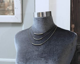 CIVAL Collective - London   Necklace   Minimalist Brass Arc   Mod   Simple Basic   Layering Choker   Dainty Jewelry   Everyday Wear   Gift