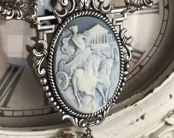 home by midnight - cameo necklace horse chariot scene blue glass beads romantic classic victorian revival vintage style, the french circus