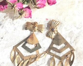 Vintage gypsy drop brass metal earrings