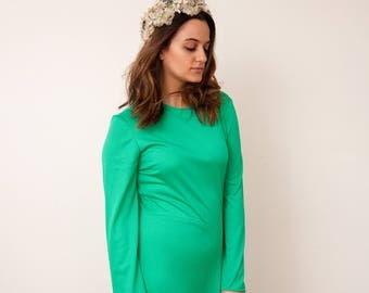 Vintage Green Maxi Dress - 1970 Vtg Dancing Queen Dress - A.J. Bari - Long Green 70s Disco Dress - Size Small