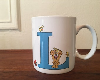 The letter L, vintage 1980s coffee mug - retro, cuppa, tea cup, office, coworker, koala bear, eighties, kitsch