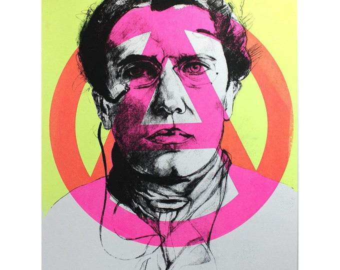 Apostle of Anarchy, Screen Printed Poster of Anarchist Emma Goldman in Hot Pink & Yellow