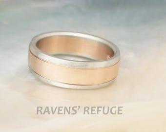 men's white gold rose gold wedding band -- 7mm comfort ring