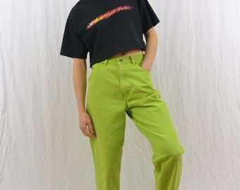 Vintage Lime Green Mom Jeans, Size XS, 90's Clothing, Grunge, Hipster, Tumblr Clothing, High Waisted Jeans, Punk
