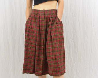 Vintage High Waisted Flannel Skirt, Size Small, Grunge, Skirt with Pockets, Mori Girl, Hipster, Indie Clothing