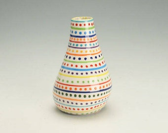 Lots of Spot Dots, and Stripes Vase Organic Hand Painted Flower Vase, Ceramic Bud Vase