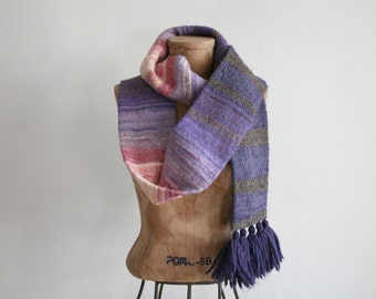 SALE Hand Woven Magenta Ombre Scarf