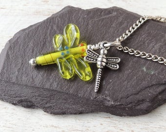 Dragonfly Charm Necklace, Green Glass Dragonfly Pendant, Dragonfly Jewellery, Charm Jewellery, Damselfly, Insect Animal Creature, UK. 739