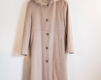 Marvin Richards light brown long wool cashmere hooded pea coat with fur trim - size 12 - taupe parka angora jacket