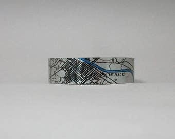 Waco Texas Map Cuff Bracelet Unique Hometown Gift for Men or Women