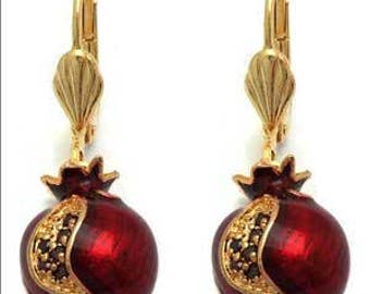 LAST ONE! Enameled Pomegranate Earrings Gold filled with beautiful seeds made of sparkling swarovski crystals on crisp red enamel