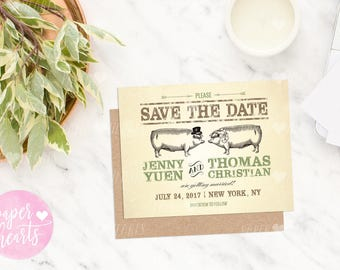 PRINTABLE PDF - Hog Roast, Pig Roast, I Do BBQ Wedding Save The Date