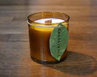 Sandalwood Soy Candle - 8 oz. Soy Candle - Woodwick Soy Candle - Plantable Tag - Soy Wax - Wood Scented Candle - Wildflower Seeds