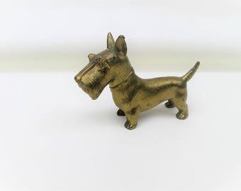 Vintage Brass Dog | Scotty Dog | Brass Animal Figurine | Scotty Dog Figurine