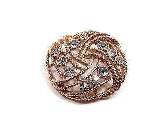 Vintage Filigree Rhinestone Brooch Pin Gold Tone Textured Woven Retro Womens Glitz Bling Glam