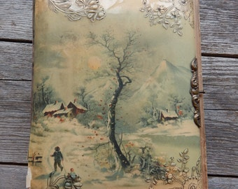 Antique Celluloid Victorian Photo Album with Velvet Back Cover