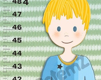 Boys Growth Chart in Canvas or Vinyl Personalized Gift for a Football or Soccer Fan