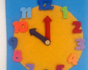 Learning Toy Wall Clock, Kids Room Decor, Preschool and Kindergarten Toy, Large Wall Clock, Montessori Learning Toy Clock, Felt Board Clock