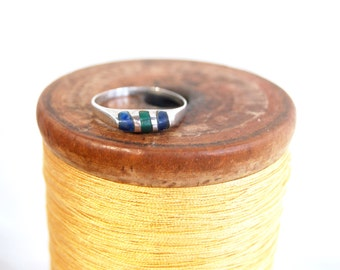 Striped Stone Ring Size 6 .25 Inlaid Blue Sodalite Green Malachite and Sterling Silver Stacking Jewelry Vintage Mexican