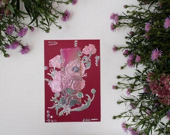Ruby red ranunculus - handmade blank greeting card, floral painting, deep pink, burgundy, rose anemones, mint green, orange, flowers - OOAK