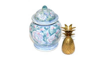 Vintage Brass Pineapple Spring Vignette Ceramic Ginger Jar Brass Pineapple Box Spring Home Decor