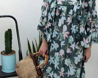 1970s Green Floral Chiffon Maxi Dress Size UK 10, US 6, EU 38