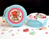 Sweet Petite Play Scale Kitschy Valentine Cookie Tin in Light Aqua