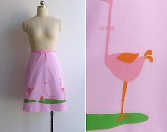 Vintage 70's 'Vested Gentress' Ostrich & Golf Novelty Print Skirt S