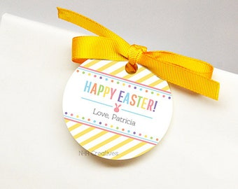 Personalized Happy Easter Favor Tag - Dots - DIY Printable Digital File