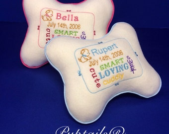 Personalized Embroidered Dog Birth Pillow
