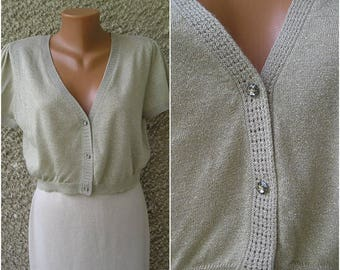 Vintage 90s LUREX cropped cardigan top, size M-L