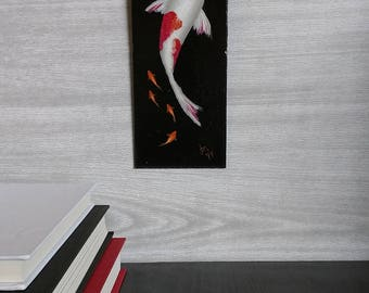 Koi Fish Painting - Goldfish - Wall Art - Painted Fish - Red and White - Black Background - Swimming Fish - Realistic Painting - Zen Art