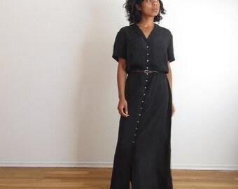 Vintage  Button front maxi dress Black rayon dress