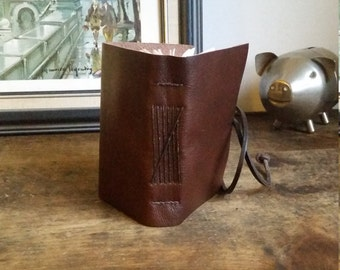 Leather Journal, Chestnut Brown, Hand-Bound 2.5 x 4 Journal by The Orange Windmill on Etsy 1693