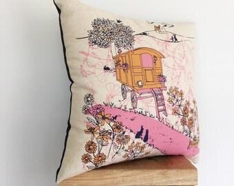 Gypsy Caravan Cushion Cover in pink & orange.