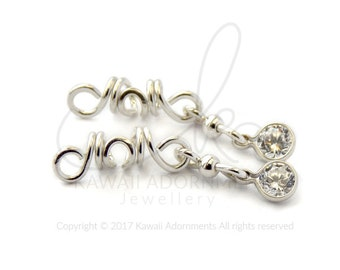 Pack of 2 CZ crystal Loc Jewelry / Sterling Silver Loc Jewelry/ bridal hair accessories will fit Sisterlocks / microlocs / 2mm or 3mm hole
