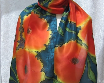 Night poppies - hand painted silk scarf + greeting card