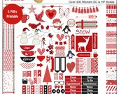 Winter Snow Red Printable Planner Kit  5 PDFs, Over 300 Stickers EC or Happy Planner Valentine or Winter