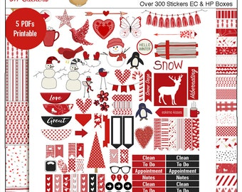 Planner Kit Stickers! Winter Snow Red Printable Kit  5 PDFs, Over 300 Stickers EC or Happy Planner Valentine or Winter