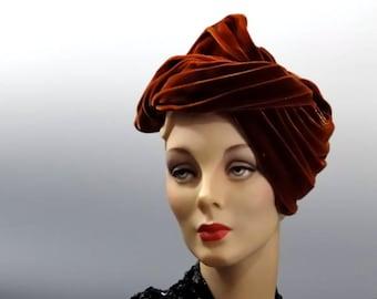Brown Velvet Turban Womens Vintage Hats 1950's