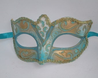 Masquerade Mask Blue-green & Gold Prom Dance Spring Carnival Mask Set