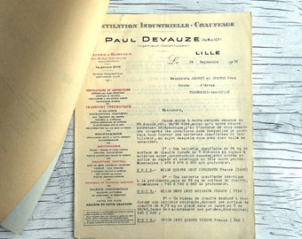 Collection of 5 pieces of French industrial ephemera from Lille. Paul Devauze letter, communication and copies, 1932. Collectable ephemera.